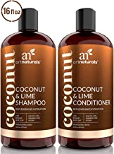 ArtNaturals Coconut-Lime Shampoo and Conditioner Set – (2 x 16 Fl Oz / 473ml) - Replenishing Hydration - Deep Moisturizing For All Hair Types – Coconut, Lime, Aloe Vera and Rosehip