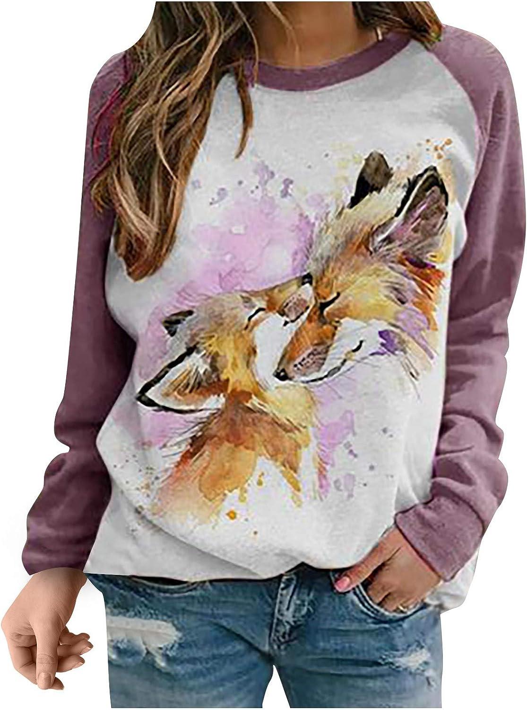 Women Long Sleeve Tops Animal Print Crewneck Sweatshirt Lightweight Pullover Blouse Cartoon Rabbit Graphic Shirt