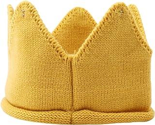 Onior ベビー帽子 ニット 赤ちゃん クラウン 王冠 撮影 誕生日 記念 セレモニー 結婚式に お宮参り耐久性