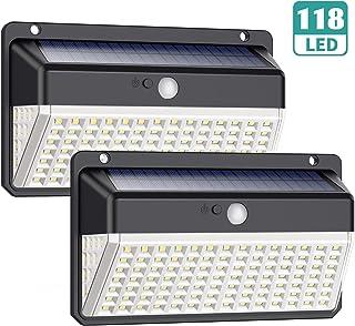comprar comparacion Luz Solar Exterior 118 LED, Trswyop【Versión Impermeable 2 Unidades】Foco Solar Exterior con Sensor de Movimiento Gran Ángul...
