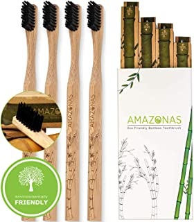 #1 Bamboo Toothbrush Biodegradable (Pack Of 4) By Amazonas Organic: Eco Friendly Toothbrushes And Recyclable (see the pics), All Natural & Vegan, Black BPA Free Nylon Bristles, Waterproof.