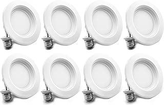 "Bioluz LED 4"" LED Retrofit Recessed Light 65W Equivalent (Using 10W) 700 Lumen, 90 CRI, Dimmable, UL-Listed CEC JA8 Title 24 Compliant (8-Pack, 3000K Soft White, Beveled Trim)"