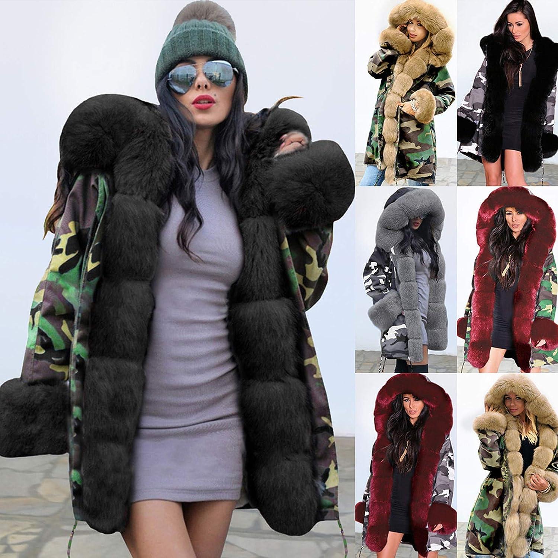 XCVBX Camouflage Damen Plüsch Langen Mantel Frauen Halten Warm Winterjacke Kapuzenmantel Fischschwanz Langarm Mantel 1 Rot