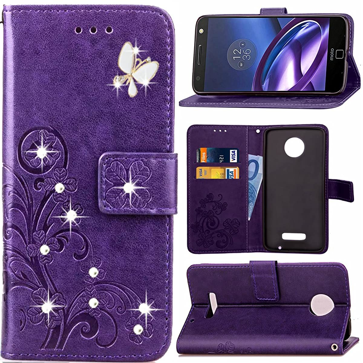 HAOTP Beauty 3D Fashion Handmade Bling Crystal Rhinestone Butterfly Floral Lucky Flowers PU Flip Stand Credit Card ID Holders Wallet Leather Case Cover for Motorola Moto Z Play Droid (Bling/Purple)