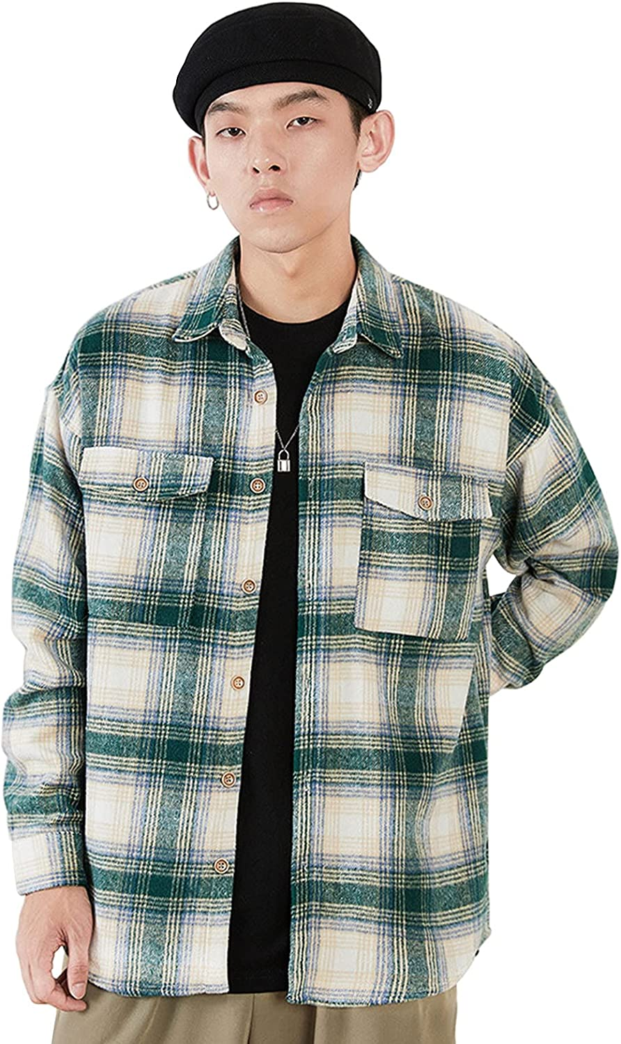 Men's Flannel Shirt Jacket Classic Plaid Button Down Long Sleeve Open Front Two-Pocket Coat Oversized