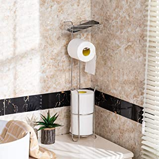 m·kvfa Free Standing Toilet Paper Holder for Bathroom Storage Brushed Stainless Simple Houseware Bathroom Toilet Tissue Paper Roll Storage Holder Stand
