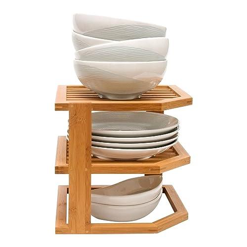 Taylor & Brown® Bambú 3 Nivel esquina estantería de cocina platos accesorio de baño ordenado