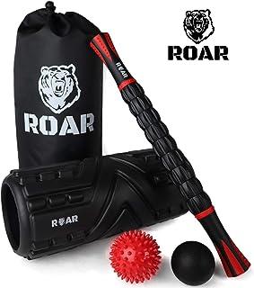 Roar® Foam Roller Masaje Kit, Rodillo Masaje Muscular Pack, Foam Roll Terapia, Roller Foam, Rulo Masaje Muscular, Rodillo Espuma Masajeador, Lacrosse Ball Y Bola Masaje con Palo Masajeador, Pilates.