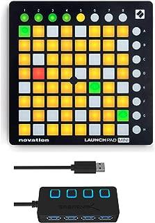 Novation Launchpad Mini MK2 Ableton Live Grid Controller with 4-Port 3.0 USB HUB