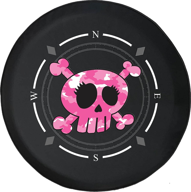 Spare Tire Cover Finally popular brand Compass Pink Skull Girls Camo Crossbones Max 81% OFF Cartoo