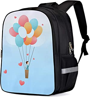 School Backpacks for Girls/Boys/Kids, Proposal Man with Flower on the Hot Air Balloon Printed Primary School Bags Students Bookbag Laptop Bag Travel Casual Daypacks