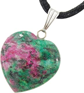 Steampunkers USA Big Heart Collection - 20mm Classic Ruby Fuchsite Natural Green Pink - 20-22 inch Black Cord – Crystal Gemstone Carved Necklace Charm Handmade