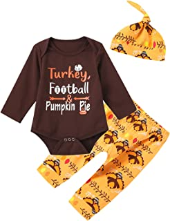 Dramiposs Baby Boy Thanksgiving Outfit Turkey Football and Pumpkin Pie Romper