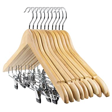 Tosnail 10-Pack Wooden Pant Hanger, Wooden Suit Hangers with Steel Clips and Hooks, Natural Wood Collection Skirt Hangers, Standard Clothes Hangers