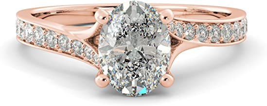 1.40 tcw Oval Cut Charles & Colvard Forever One Moissanite & Round Cut Diamond Split Shank Custom Engagement Ring Your choice of 14k White Rose or Yellow Gold