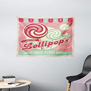 Vintage Decor Tapestry, Lollipops Candy Foreground of Striped Layout Cute Girls Childhood Print Image, Wall Hanging for Be...