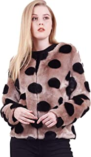 Amandina Luxe Women's Classic Quilted Polka dot Bomber Jacket