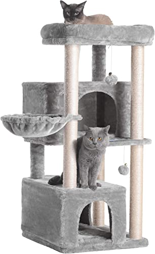 high quality Hey-brother Cat Tree,Multi-Level Cat Condo Tower Furniture new arrival with Sisal-Covered Scratching Posts, 2 Plush Condos, Big Plush Perches for popular Large Cat outlet online sale