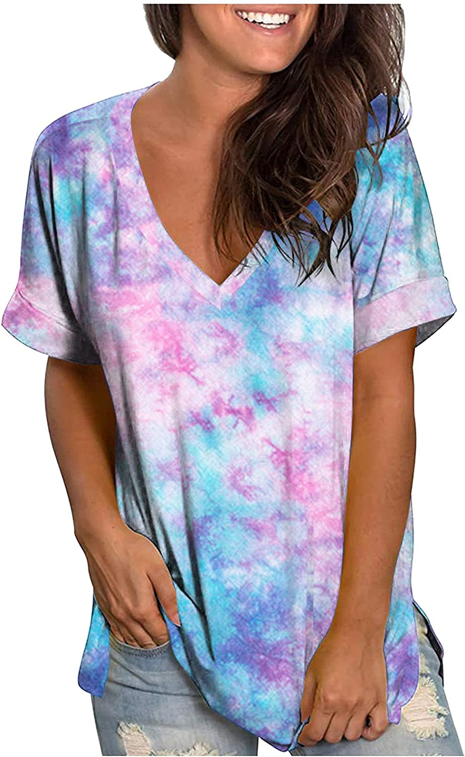 FABIURT Womens V Neck T Shirts Roll Up Short Sleeve Loose Fit Tie Dye Tunic Casual Plus Size Basic Tees Henley Tops