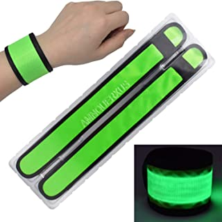 AMNQUERXUS LED Glow Slap Bracelets Light Up Wristbands Flashing Arm Wrist Bands High Visibility Safety Gear Lights for Cycling Walking Running Concert Camping Outdoor Sports,  Fits Women Men Kids