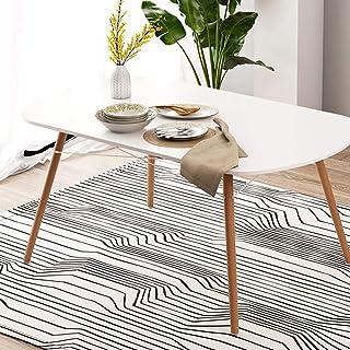 KaminHome Table de salle à manger Betty salon cuisine pieds bois rectangulaire ovale design nordique scandinave moderne mi...