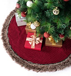 SANNO Christmas Tree Skirt, 42 inches Knitted Skirt with Plush Faux Fur Edge Rustic Thick Heavy Yarn Knit Xmas Holiday Decoration Burgundy Luxury Knit Knitted Xmas Holiday Decoration