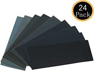 24PCS Sand Paper Variety Pack Sandpaper 12 Grits Assorted for Wood Metal Sanding, Wet Dry..