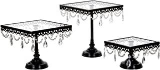 Amalfi Decor Square Cake Stand Set of 3 Pack, Dessert Cupcake Pastry Candy Display Plate for Wedding Event Birthday Party, Glass Top Metal Pedestal Holder with Crystals, Black