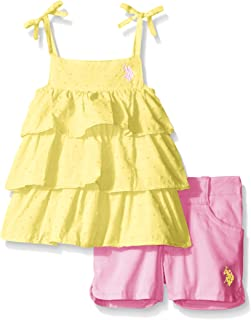 U.S. Polo Assn. Baby Girls' Ruffled Dotted Swiss Tank Top and Washed Twill Short Set