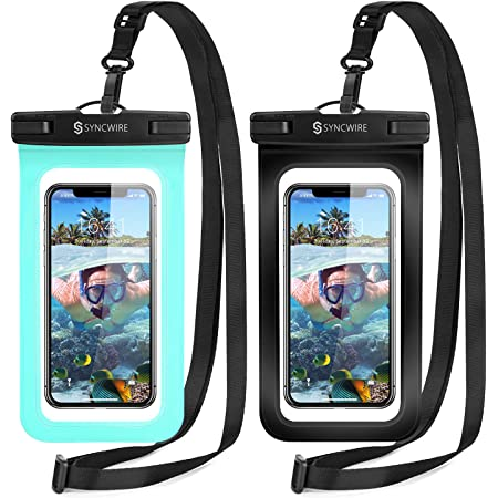 """Syncwire Waterproof Phone Pouch, 2-Pack Universal IPX8 Waterproof Phone Case Dry Bag with Lanyard for iPhone 12 Pro Max 12 12 Pro 11 X XR 8 Samsung S21 S10 S9 Huawei P30 P20 Mate20 Pro up to 7"""""""