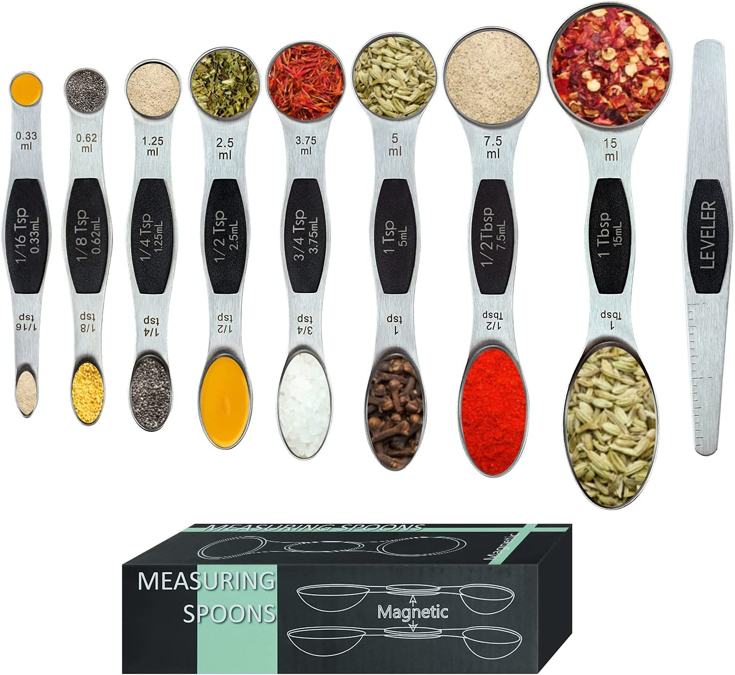Tibroni Magnetic Measuring Spoons shopping Set Stainless Steel Pieces 9 Attention brand