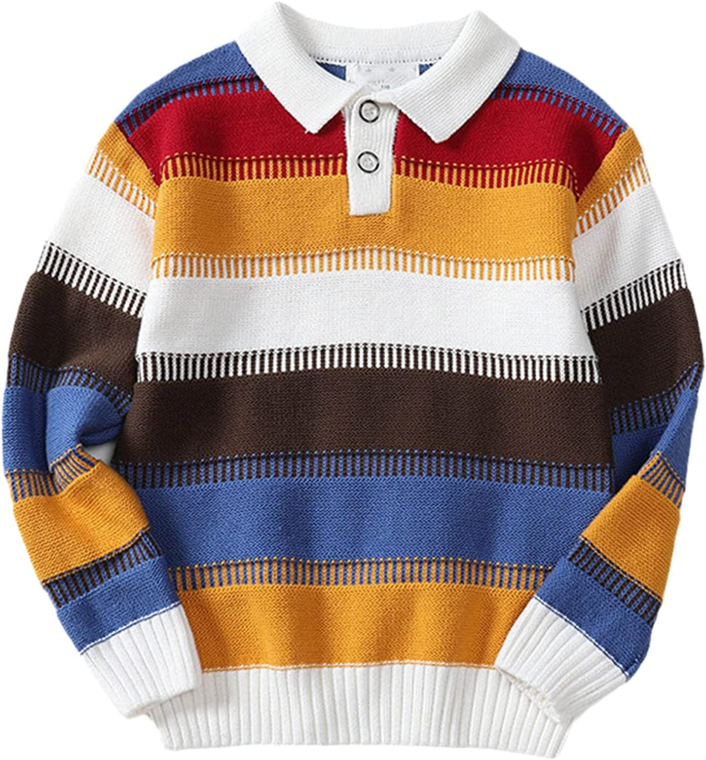 Kid Boy Clothes Spring Warm Pullover Top Long Sleeve Turn-Down Collar Striped Sweater Girl Fashion Knitted Gentleman Outfit