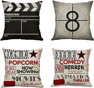 MIULEE Juego de 4 Lino Cojines Serie de Películas Funda de Cojín Almohada Caso de Decorativo Cojines para Sala de Estar sofá Cama Coche 18