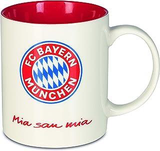 FC Bayern München Tasse Mia San Mia   Bayern München Fanartikel Kaffeebecher 350ml   Becher aus dem FCB Fanshop mit Logo und Mia San Mia Schriftzug   Keramiktasse Weiß für Bayern Supporter Rot/Weiß