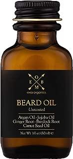 USDA Organic Beard Oil For Men - Extra Hydrating & Nourishing Beard Oil for Beard Growth, Healthier Beard Hair & Softer Skin Care - Prevent Dandruff & Tame Frizzy Hair (Unscented, 1 oz)