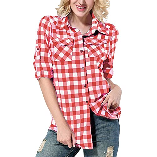 3bbdc66c281 Yidarton Women Long Sleeve Plaid Shirt V Neck Casual Loose Pocket Button  Down Shirts