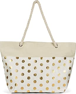 styleBREAKER Damen XXL Große Strandtasche mit Metallic Punkte Muster und Reißverschluss, Schultertasche, Shopper 02012342