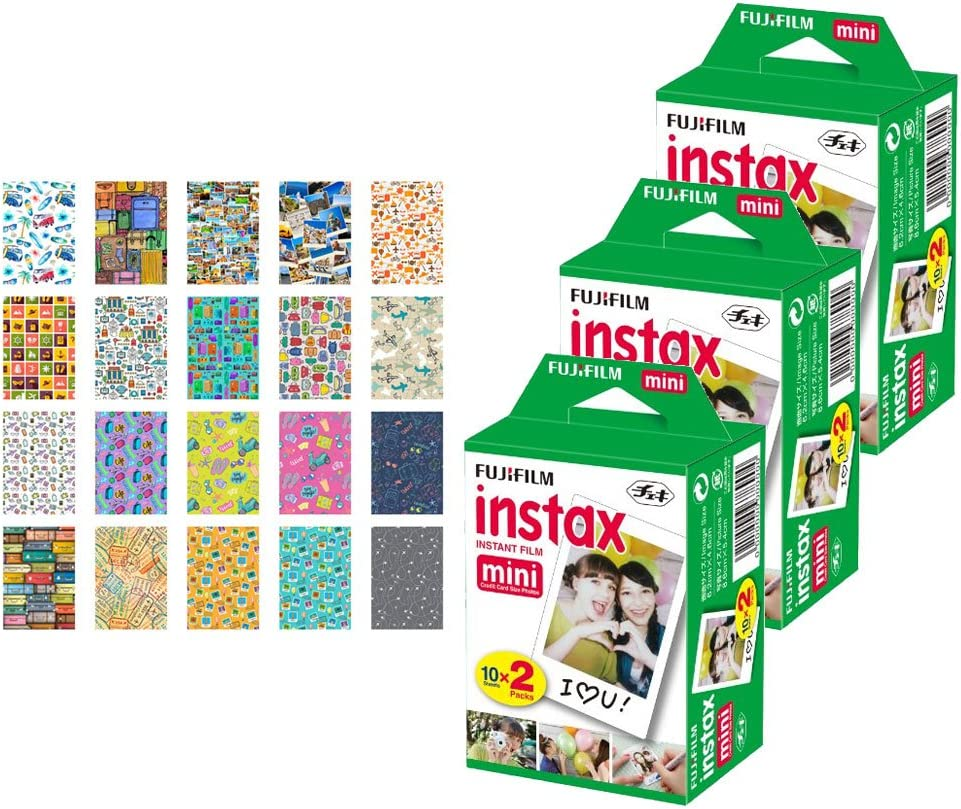 3X Fujifilm instax Mini Instant Film (60 Exposures) + 20 Sticker Frames for Fuji Instax Prints Travel Package