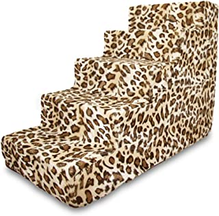 Best Pet Supplies 5-Step Foam Pet Stairs/Steps, 30 by 15 by 23-Inch, Animal Print