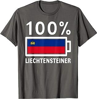 Liechtenstein Flag Shirt 100% Liechtensteiner Battery Power