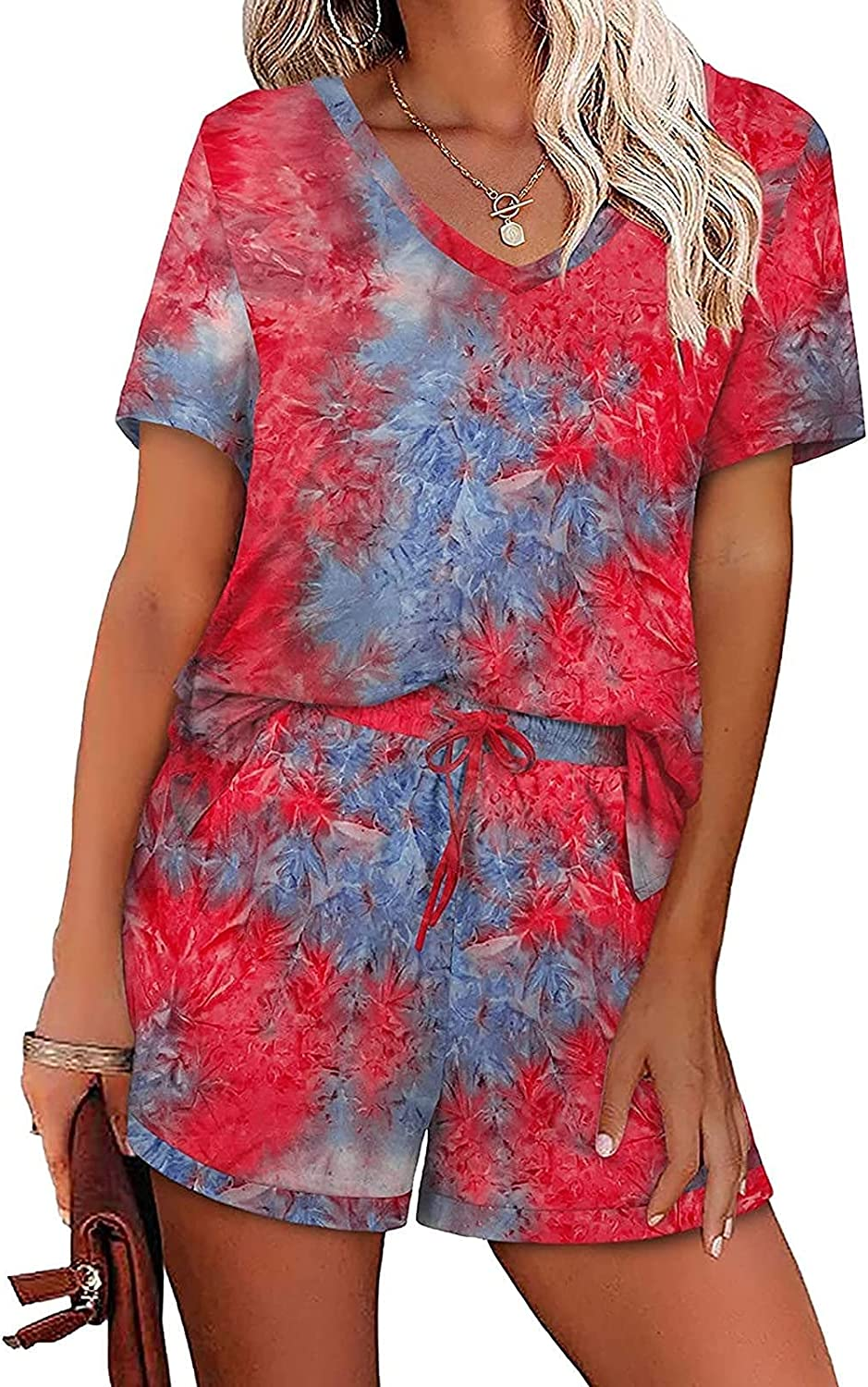 Kanzd Two Piece Outfits for Women Summer Fashion Summer Tie Dye 2 Piece Outfits Tops Lounge Sleepwear Pajamas Sets