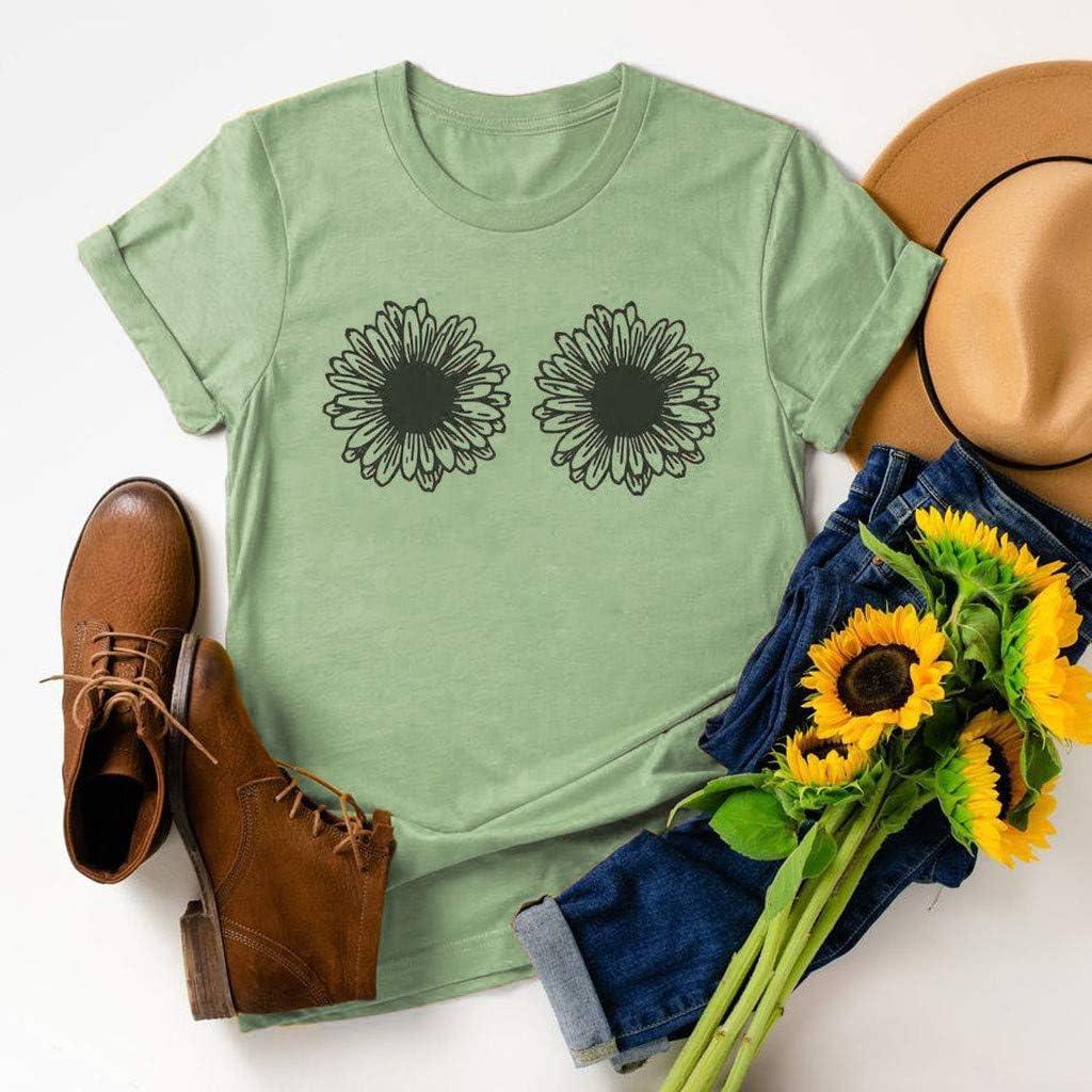 Causal Short Sleeve Shirt Dandelion Sunflower Letter Print O-Neck Blouse Tops Funny Tee Shirts Womens T Shirt 2021