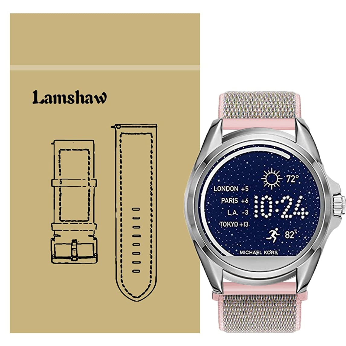for Michael Kors Access Bradshaw Bands, Lamshaw Breathable Nylon Replacement Sport Loop Band for MK Access Touchscreen Bradshaw Smartwatch (Pink)