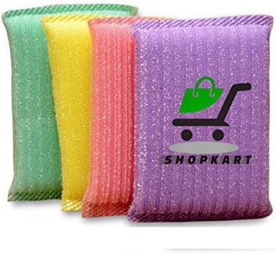 Shopkart® Scratch Proof Kitchen Scrubber Pads for Utensils/Tiles Cleaning Multi Colour Foam Pad Pack of 4