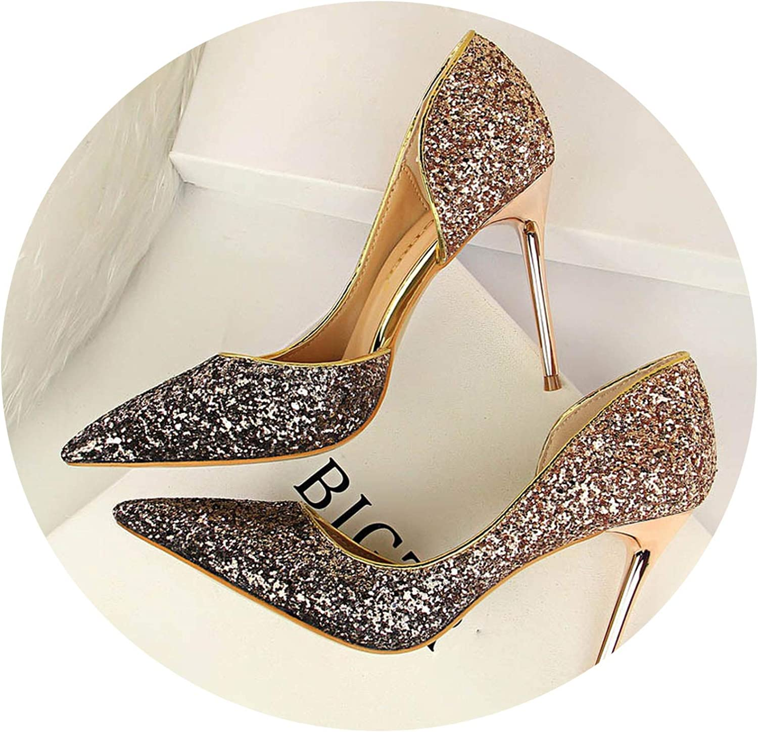 JIESENGTOO 2019 Woman 9cm Glitter High Heels Sequins Scarpins Pumps Party Wedding Scarpins