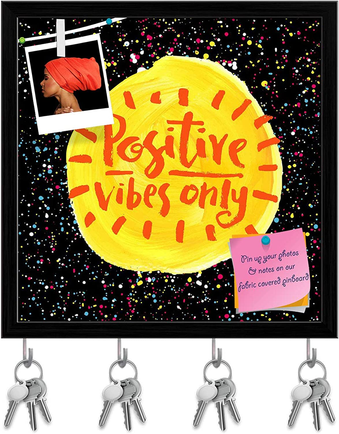 Artzfolio Positive Vibes Only D2 Key Holder Hooks   Notice Pin Board   Black Frame 20 X 20Inch