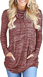 Kimiee Womens Long Sleeve Cowl Neck Casual Sweatshirt Pullover Workout Tunic Tops