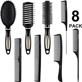 8 Pcs Paddle Hair Brush Detangling Brush Hair Brush Comb Set, Include 3 Pieces Airbag Massage Comb and 5 Pieces Hair Styling Comb