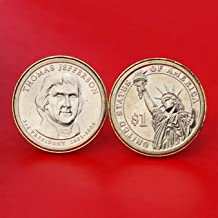 US 2007 Presidential Dollar BU Uncirculated Coin Gold Plated Cufflinks NEW - Thomas Jefferson (1801~1809 Years Served) Obverse + Reverse