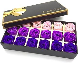 Floral Scented Bath Soap Rose Flower Petals,JIALEEY Plant Essential Oil Rose Soap Set Guest Soap...